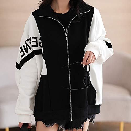 WOLJW Damen Open Cardigan Shirt, Langarm Splicing Letter Loose Cardigan Revers Bewegung Baseball Uniform mit Taschen Leichter Reißverschluss Mantel,B,XL