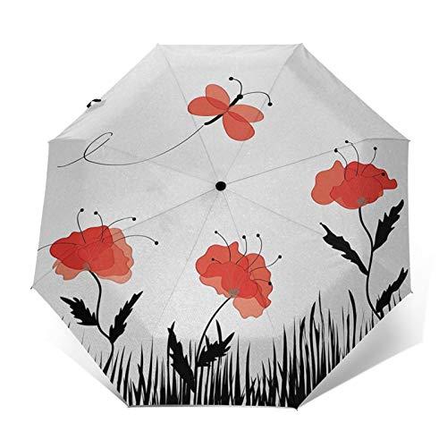 Regenschirm Taschenschirm Kompakter Falt-Regenschirm, Winddichter, Auf-Zu-Automatik, Verstärktes Dach, Ergonomischer Griff, Schirm-Tasche, Landschaft Gras blühen