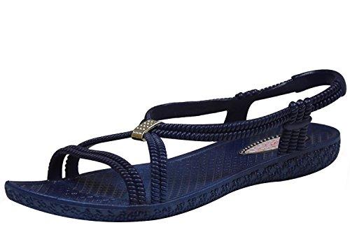 Siebi's Tenno Damen Dusch- und Bade Sandalen Schuhe Schwarz (39, Navy (Blau))