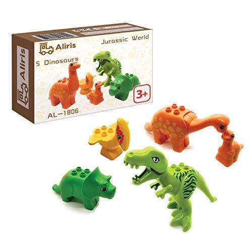 Aliris Jurassic – 5 Dinosaurier – Dino Zoo Park T-Rex Set für Kleinkinder – Kompatibel mit Führenden Marken Bausteinen