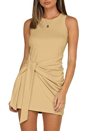 LIYOHON Women's Summer Short Dress Casual Crewneck Sleeveless Solid Color Ruched Tie Waist Bodycon Tank Mini Dresses