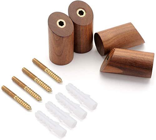 IVAILEX 4 Stück Kleiderhaken Garderobenhaken aus Natürliche Holz Haken Wandhaken Handtuchhaken Geeignet für Wohnzimmer Schlafzimmer Dekoration Schwarze Walnuss 6CM