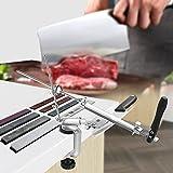 Adoture Aiguiseur Couteau, Affûteur de Couteaux à Angle Fixe rotation à 360°, avec 4/8 Pierres à Aiguiser Antidérapante Aiguiseur de Cuisine (8 Pierres à Aiguiser)