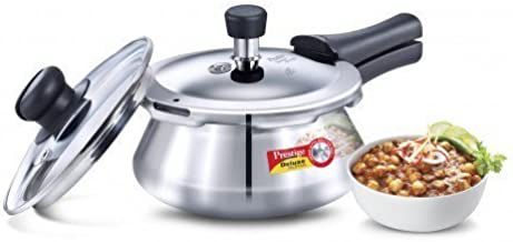 Prestige Deluxe Alpha Stainless Steel Pressure Cooker Handi With Glass Lid, 1.5 Litre, Silver