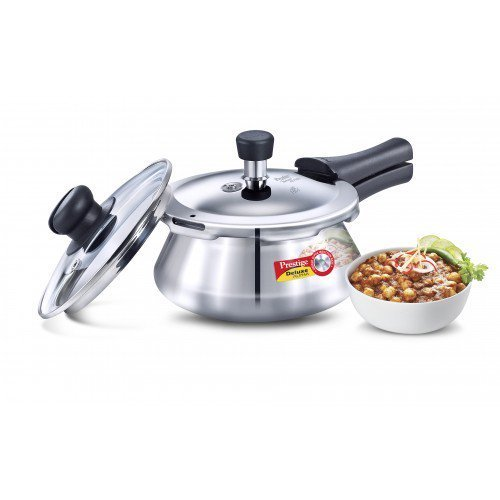 Prestige Deluxe Alpha Stainless Steel Pressure Handi with Glass Lid, 1.5 Litres, Silver