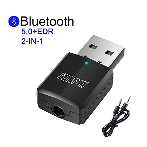 Bluetooth Adapter, SZMDLX Transmitter und Empfänger 2-in-1, USB Bluetooth 5.0 Dongle Stick Adapter 2 in 1 Sender Receiver mit 3,5mm digitales Audiokabel für PC TV Kopfhörer für Zuhause