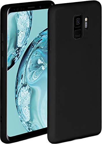 ONEFLOW Soft Hülle kompatibel mit Samsung Galaxy S9 Hülle aus Silikon, erhöhte Kante für Displayschutz, zweilagig, weiche Handyhülle - matt Schwarz