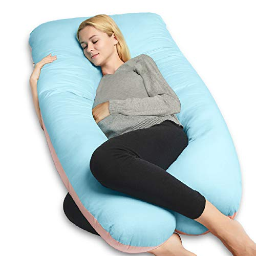 QUEEN ROSE 55in Pregnancy Pillow, U-Shaped Full Body Pillow for Back Support with Satin Cover for Anyone,Blue and Pink