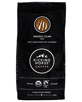 Kicking Horse Coffee Grizzly Claw Dark Roast Whole Bean 10 Oz - Certified Organic Fairtrade Kosher Coffee
