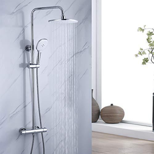 CECIPA Duscharmatur Thermostat, Regendusche Duschsystem mit Thermostat und 3 Strahlarten Handbrause, Duscharmatur Set mit Duschstange aus Edelstahl