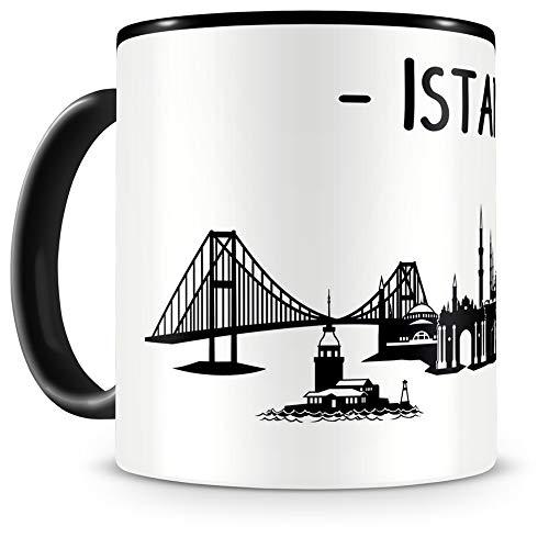 Samunshi® Istanbul Skyline Tasse Kaffeetasse Teetasse H:95mm/D:82mm schwarz