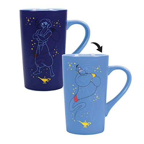 Half Moon Bay - Taza de Desayuno termocolora Aladdin Genie Disney, única