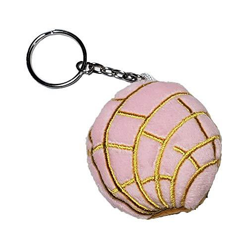 vinyldecalking Concha bread keychain pink plush cute pan dulce llaveros, 2' diameter