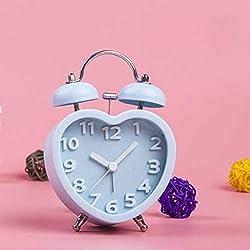 GOPG Cute Heart-Shaped Alarm Lazy Bug Alarm Clock Table Bedroom Bedside Electronic Clock -Blue