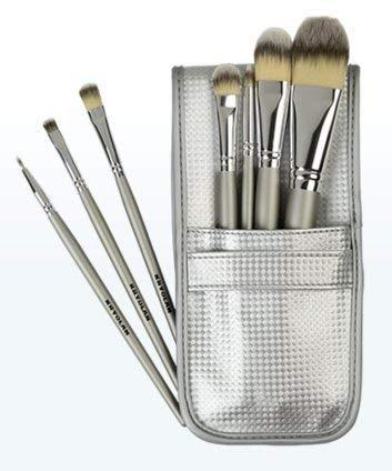 Kryolan 8314 Synthetik-Make-up-Pinsel-Set (inklusive 7 Pinsel und Tasche)