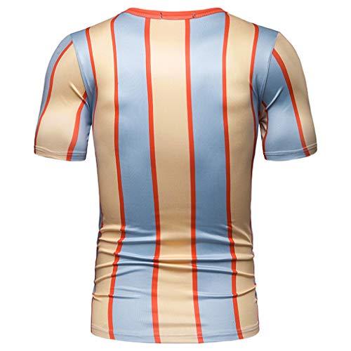 DERSS85 Camicetta Superiore della Camicia degli Pullover di Colore di Miscelazione del Bottone della Banda della Manica Corta di Modo