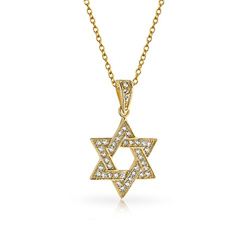 Cubic Zirconia CZ Accent Traditional Religious Magen Judaic Jewish Hanukkah Intertwined Star Of David Pendant Necklace For Women Teen Bat Mitzvah 14K Yellow Gold Plated 925 Sterling Silver
