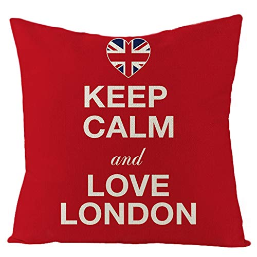 """AtHomeShop 45 x 45 cm Funda de cojín decorativa en lino con diseño de bandera del Reino Unido """"Keep Calm and Love London"""", funda de cojín cuadrada suave para dormitorio, color rojo y blanco, estilo 05"""