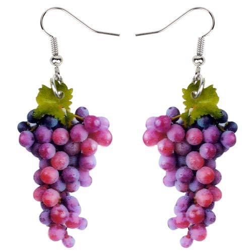 NOBRAND Pendientes De Mujer Acrílico Dulce Un Racimo De Pendientes De UVA Gran Caída Larga Cuelga La Moda Trópico Joyas De Frutas