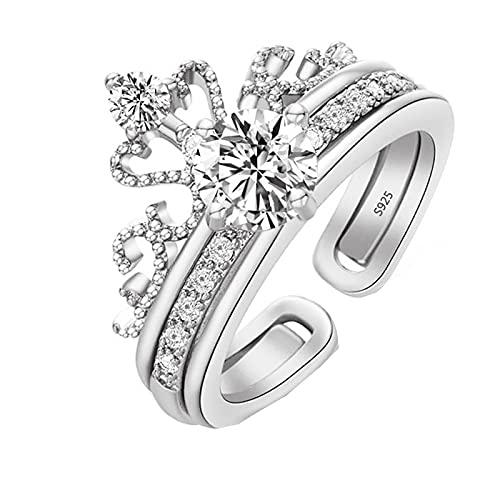 Anillo de plata de ley 925, tamaño ajustable, corona encantada, anillos apilables, anillos de circonita transparente vintage