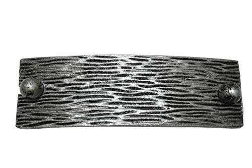 GARDINIA Raffspange Struktur, Mit flexiblem Spannband, Dekorieren und Raffen von Stoffen und Vorhängen, Länge 13,5 cm, Metall, Silber-Antik