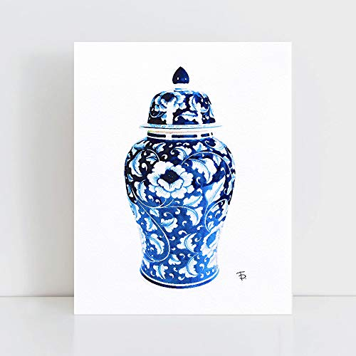 Chinoiserie Vase Glam Wall Art Poster Print Blue Watercolor Oriental Vase Blue White Willow Style -  OMGPOPART