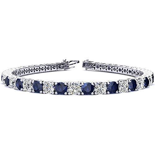 Silvernshine Jewels - Bracciale tennis con zaffiro blu e diamanti sim taglio rotondo 11,04 ct, placcato oro bianco 14 carati e Argento, colore: bianco, cod. SNSB296-WG_8
