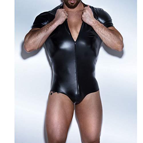 MYJ Herren sexy Unterwäsche Unterwäsche sexy schwarz Lackleder Reißverschluss Bodysuit Ebay,Schwarz,S