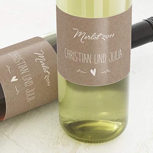 sendmoments Etiketten für Flaschen, Kraftpapieroptik, Sticker, selbstklebend, praktisch, individuell mit Wunschtext zur Hochzeit, für Weinflaschen, als Tischdekoration, Querformat, ab 10 Stück