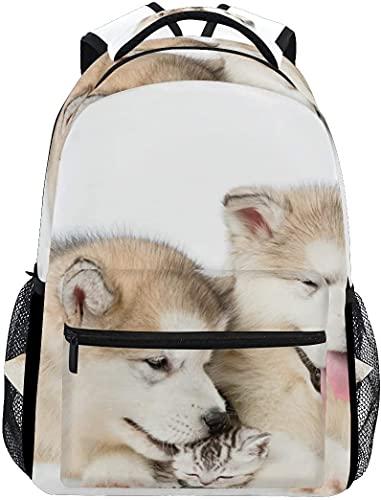 School College Backpack Rucksack Travel Bookbag Outdoor Puppies Kitten Together