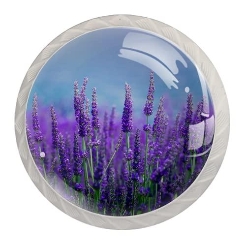 Manijas para cajones Perillas para gabinetes Perillas Redondas Paquete de 4 para armario, cajón, cómoda, cómoda, etc.. El campo de lavanda violeta