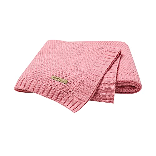 mimixiong Baby Boy Girl Soft Cosy Knitted Blanket Pram Cot Moses Basket Travel Baby Blankets, 80 x 100cm (Pink)