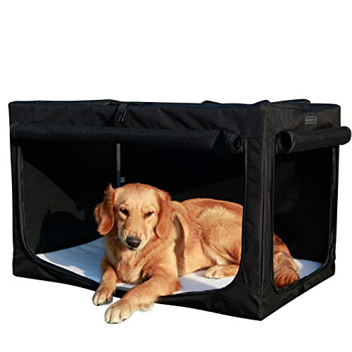 Petsfit Dog Crate, Foldable Large Dog Crate,Soft Dog Cages with Fleece Mat,Large Soft Fabric Crate for Medium to Large Dogs,Black 89cm x 58cm x 58cm (Large)