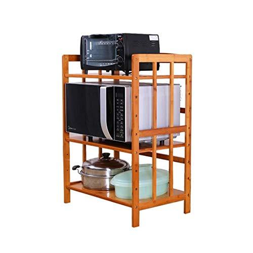 ZUQIEE Estante de la cocina Microondas horno de carro de madera maciza de bambú estante de la cocina rejilla del horno de almacenamiento en rack de almacenamiento Suministros estante del pote de suelo