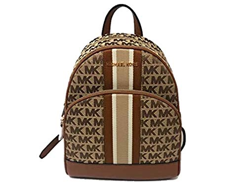 Michael Kors Abbey Medium Backpack in Signature Beige/Ebony/Luggage