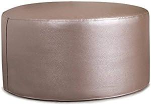 Icon The Ritz Pouf Repose-Pieds Rond–Metallic Repose-Pied Le Salon Chambre à Coucher de Meubles en Simili Cuir Argenté Blush
