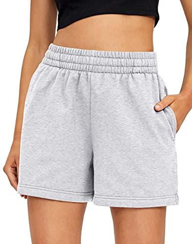 EFAN Womens Sweat Shorts Summer Casual Comfy Elastic High Waist Shorts Drawstring Workout Shorts with Pockets Grey