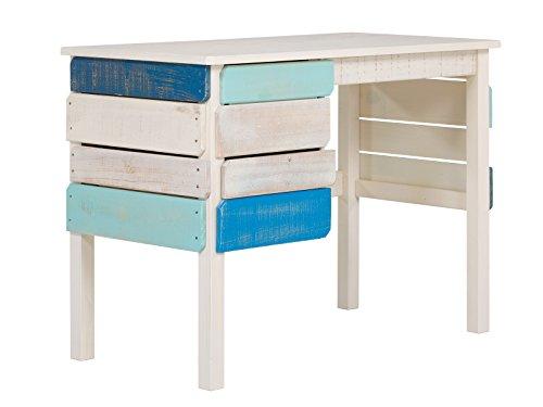 Massivum 10024230 Safari Schreibtisch, Holz, blau, 100 x 53 x 75 cm