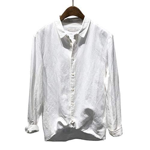 Camisas de Manga Larga para Hombre Camisas de Cuello Vuelto de un Solo Pecho de Color sólido de Corte Holgado básico versátil 3X-Large