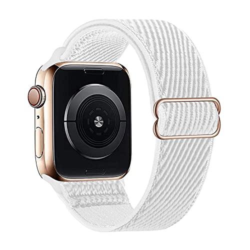 Lobnhot Solo Loop compatible con Apple Watch Correa de 42 mm 44 mm, correa de nailon elástica ajustable para iWatch Series 6/5/4/3/2/1 SE (42/44 mm Re-White)