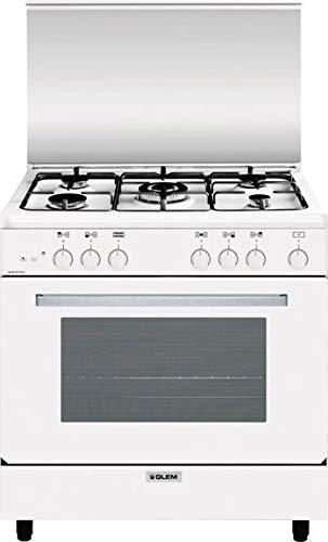 Cucina a Gas 5 Fuochi con Forno a Gas 80x50 colore Bianco
