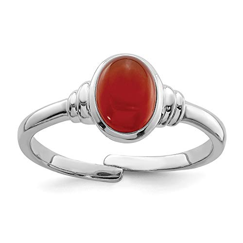 925 Sterling Silver Red Agate Band Ring Size 8.00 Natural Stone Fine Jewellery For Women Gifts For Her