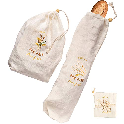 Organic Linen Bread Bags for Homemade Bread - Set of 2, Reusable Storage Bags for Baguette and Loaf to Keep Them Fresh and Delicious - Gifts for Bakers