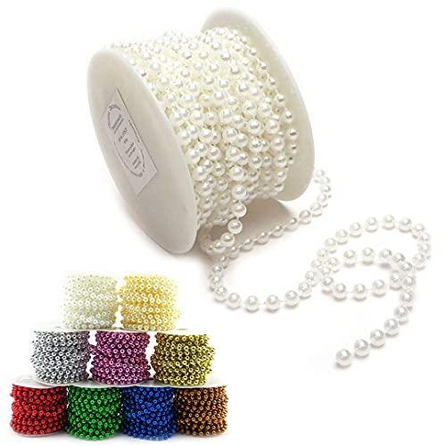 Sepkina Perlenband Perlenkette Perlengirlande Perlenschnur Weihnachten Advent Hochzeit Deko Tischdeko Rolle Weiss 6mm (S-P6-01-weiss-10m) (0,90€/m)