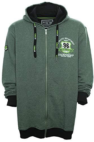 Kitaro Sweat Jacke in trendigem Grün Melange, Größe:4XL