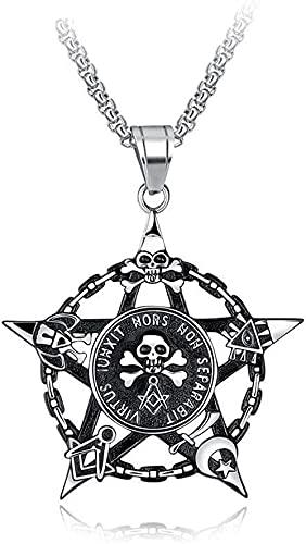 Yiffshunl Collar Moda Accesorios Personalizados Collares Collar Colgante para Hombre Moneda Pirata Ojo de Calavera Todo Ver Hombre de Acero Inoxidable Joyería de Plata Vintage