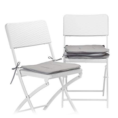Relaxdays Stuhlkissen 4er Set in grau, Sitzkissen mit Schleife, Auflage für Stühle in Haus und Garten, waschbar, Stuhlauflage aus Polyester, anthrazit