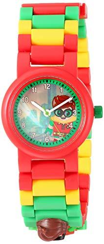 LEGO Batman 8020868 Robin Kids Minifigura Link Buildable Reloj | Rojo/Verde | Plástico | 27.5mm Diámetro de la caja | Cuarzo analógico | Niño niña | Oficial