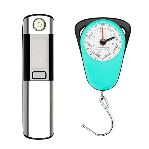 Luggage Scale with Built-in Tape Measure, with Horizontal Bubble Digital Portable Travel Suitcase Weigher (Digital&Manual Set)