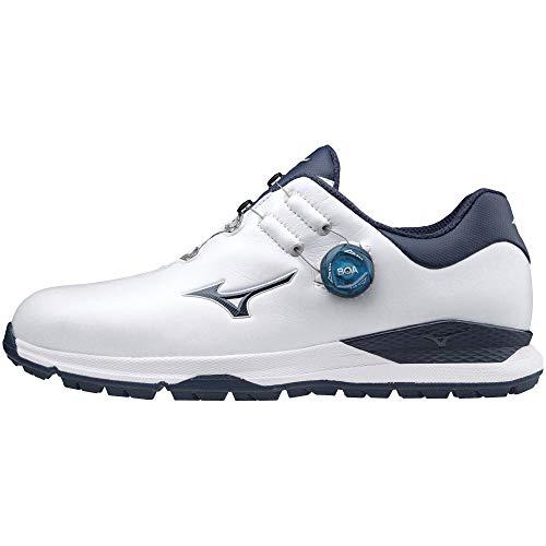 [ミズノ] ゴルフシューズ ジェネム010ボア スパイクレス メンズ ホワイト×ネイビー 29 cm 4E
